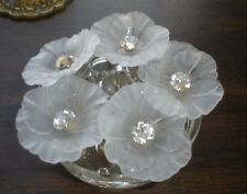 Frosted Acrylic molded flower 10MM Rhinestone center shank buttons 40MM 5 pc 65L