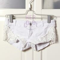 Sexy Summer Women's Wash Jeans Hot Pants Denim Lace Low Waist Shorts White
