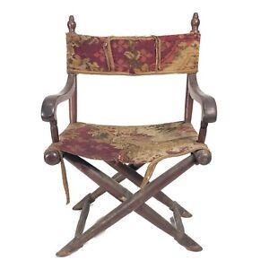 Civil War Era Carpet Folding Captain's Chair Original