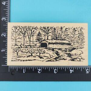 Winter Covered Bridge Scene Horse Sleigh Northwoods Wood Rubber Stamp 2013