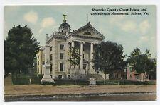 VA ~ Confederate Monument & Court House SALEM Virginia c1908 Roanoke County