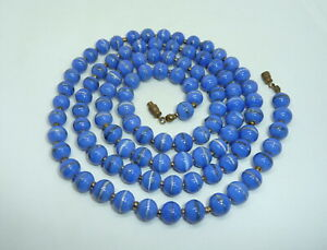 Vintage Venetian Murano  Flapper Length Blue Banded Art Glass Bead Necklace