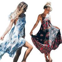Women Bohemian Floral Print Summer Long Maxi Party Dress Beach Holiday Sundress