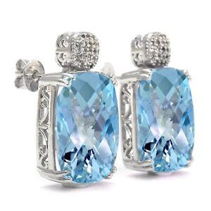 Meher's Jewelry SS Blue Topaz & White Zircon Gemstone White Rhodium Stud Earring