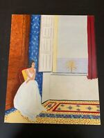 Outsider Art Oil Painting On Canvas Lady Looking Out The Window