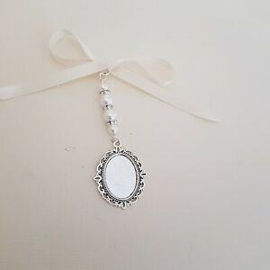 Wedding charm Silver Oval Pendant Bridal Bouquet Charm 4 white pearls & Gift Bag