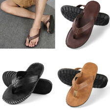 Men Fashion Leather Sandals Summer Beach Casual Flat Flip Flops Anti-slip Shoes