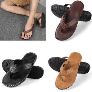 Men Fashion Leather Sandals Summer Beach Casual Flat Flip Flops Anti-slip Shoes