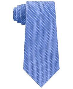 Michael Kors Men's Neck Tie Blue Satin Dash Stripe Skinny Slim Silk $69 374