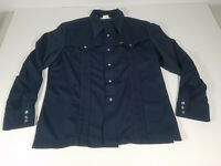 Vintage 70s Lee Western Pearl Snap Shirt Navy Blue Made in USA Size Large