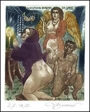 David Bekker 1999 Exlibris C4 Erotic Erotik Nude Woman Angel Devil Teufel 720