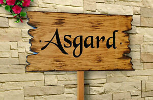 Personalised  Carved Oak Wooden sign with post