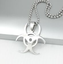 "Silver Biohazard Poison Symbol Pendant 24"" 61CM Mens Ball Chain Surfer Necklace"