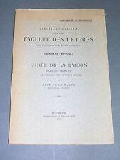 Jean de La Harpe l'idée de la raison dans les sciences et la philosophie 1930