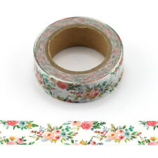 Flowers Washi Tape Pretty Floral Masking Tape 15mm x 10 Metre Roll