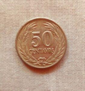 Coin Salvadorean 50 Cents Coin Made Of Silver 1953 For Collection