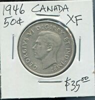 CANADA - BEAUTIFUL HISTORICAL GEORGE VI SILVER 50 CENTS, 1946, KM# 36