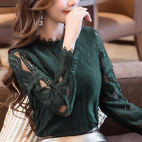 Womens Ladies Long Sleeve Blouse Shirt Formal Lace Striped Office Slim Tops DD
