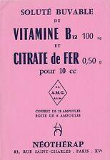 W106 Buvard NEOTHERAP Soluté buvable Vitamine B12 Citrate de Fer AMG