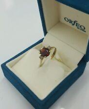 Solitär Ring Gold 333 mit Böhmischer Granat und Diamanten ANTIK