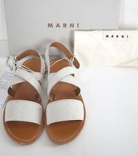 New Authentic MARNI White CALF HAIR Slingback Sandals Shoes EUR-39.5 US-9.5
