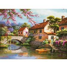 DIY Art Paint By Numbers Kit Digital Oil Painting Bridge River Home Wall Decor