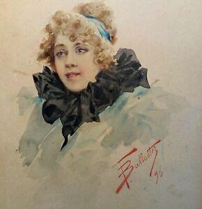 Acquarello di F. Ballester Viso di donna 1896 (D132) Come foto Immagine 15x12 cm