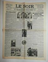N567 La Une Du Journal Le Soir 30 septembre 1938 chambertin, Hitler, Mussolini