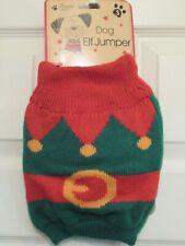 Knitted elf dog jumper, Christmas dog jumper, size small, dog coat