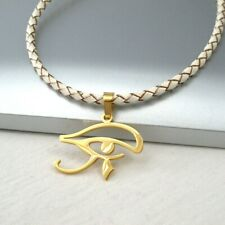 Gold Egyptian Egypt Eye Stainless Steel Pendant White Braided Leather Necklace
