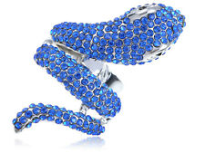 Bright Blue Serpent Snake Finger Wrap Fashion Jewelry Statement Charm Rings