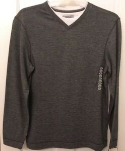 MENS' LAYERED LOOK 'METHOD' PULLOVER LONG-SLEEVED SHIRT 2 COLORS AVAIL NWT!