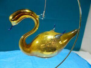 🎅  Vintage 1920's ⛄ Bimini German Blown Glass ⛄ GOLD SWAN Tree Ornament #9🎄