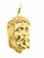 Ciondolo Pendente Uomo Donna Oro Giallo 18 Kt Carati Ct 750 1,60 Gr Volto Cristo