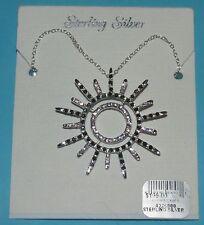 Sterling Silver Sunburst necklace w/black / pink stones NEW!