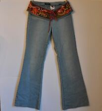 Miss Sixty Bell Bottom Jeans Size 29 Italy Hippie Retro Embroidered Belt Flowers