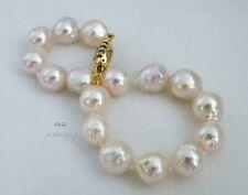 "HS Baroque 9.5X12.5mm Japanese Akoya Cultured Pearl Bracelet 7.25"" 14K w/Diamond"