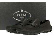 NEW PRADA  BLACK DAINO LEATHER LOGO MOCCASINS DRIVER LOAFER SHOES 7/US 8