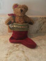 BOYDS BEARS FELICITY TEDDY BEAR IN A CHRISTMAS STOCKING PLUSH CHRISTMAS ORNAMENT