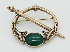 Bronce Irlandés Celta Broche Pin con ónix verde, Kilt Pin, dos perros Espada, Vikingo