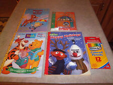 New - Christmas Coloring Sticker Books w/Colored Pencils & Elves Book & Cassette