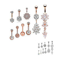 9Pcs Dangle Belly Button Rings Set Navel Stainless Steel Body Piercing Jewelry