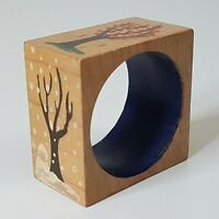 Four Seasons Trees Hand Painted Square Napkin Ring Wooden