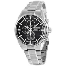 NEW MEN'S SEIKO SOLAR TITANIUM CHRONOGRAPH BLACK DIAL SPORTS WATCH SSC367 New