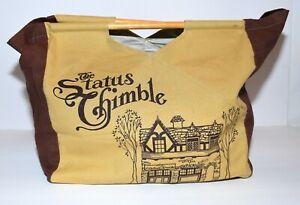 Vintage The Status Thimble Tan Dark Brown Canvas 2 Wood Handles Sewing Yarn Bag