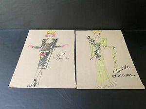 2 Fashion Sketch's, Illustrated ~ Signed C. Waldo Original ~