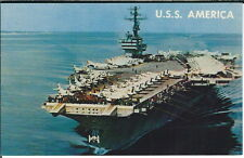 Az-194 - Aircraft Carrier U.S.S. America, 1960's-1970's Modern Chrome Postcard