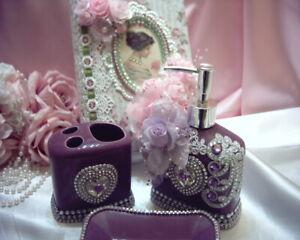 Shabby Victorian Chic PURPLE 3 Pc Bathroom Set~RHINESTONES~Lavender Accents~Lace