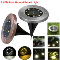 8 LED Solar Under Ground Buried Light Outdoor Lawn Path Garden Lamp Waterproof