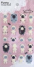 Lovely Sheep Puffy STICKERS Sheet of 23 Funny Sticker World Korea Kawaii